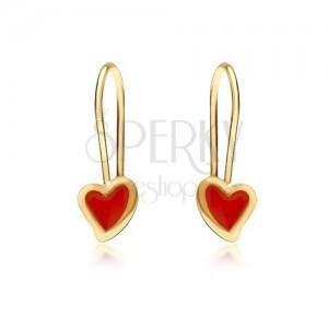 Zlaté náušnice 375 - lesklé nepravidelné srdce, červená glazura