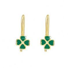 Zlaté náušnice 375 - lesklé ploché čtyřlístky, zelený email GG02.32