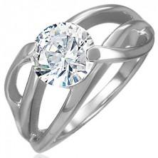 Zásnubní prsten s příčným úchytem a kulatým čirým zirkonem, ocel 316L