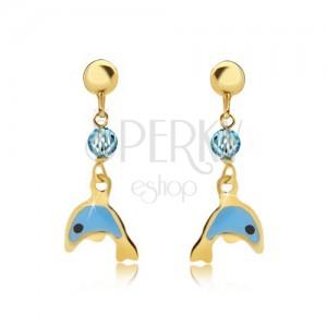 Náušnice ze žlutého 9K zlata - glazovaný modrý delfín, blyštivá kulička