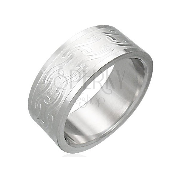 Prsten z chirurgické oceli s matnými pruhy různého tvaru