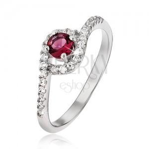 Prsten ze stříbra 925 - zirkonová ramena se zahnutým koncem, červený kamínek