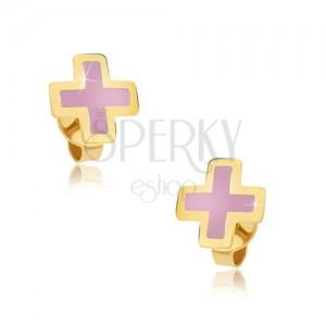 Zlaté náušnice 375 - rovnoramenný růžový křížek, emailový povrch