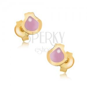 Zlaté náušnice 375 - plochá glazovaná mušle růžové barvy