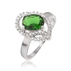 Stříbrný prsten 925, oválný zelený kamínek, zirkonové oblouky