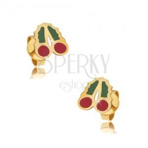 Zlaté puzetové náušnice 375 - glazované červenozelené třešně