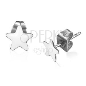 Ocelové náušnice, bílé glazované hvězdy