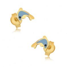 Zlaté náušnice 375 - glazovaný modrý delfín, lesklý hladký povrch GG03.36