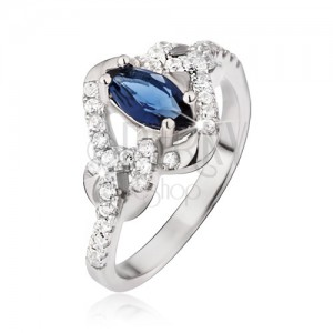Prsten ze stříbra 925, modrý zrníčkový zirkon, uzlíky