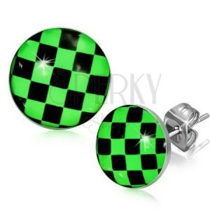 Náušnice z oceli, zeleno-černá šachovnice