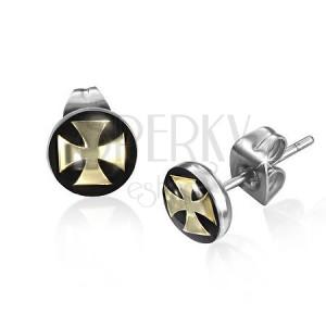 Puzetové náušnice z oceli, maltézský kříž zlaté barvy