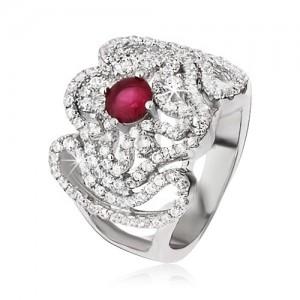 Stříbrný prsten 925, zirkonový kříž, zvlněné linie a růžovočervený kamínek