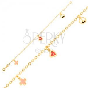 Zlatý náramek 375 - řetízek, glazované srdce, kříž a symbol míru
