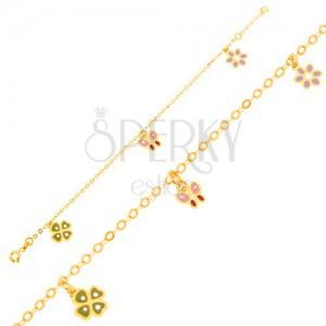 Zlatý náramek 375 - glazovaný čtyřlístek, motýl, kvítek, lesklý řetízek