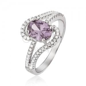 Prsten ze stříbra 925, fialový oválný zirkon, rozdělená zvlněná ramena