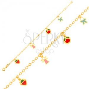 Náramek ve žlutém 9K zlatě, řetízek, jahoda, děvčátko, jablko, chlapeček