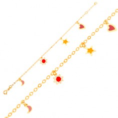 Zlatý náramek 375 na ruku, měsíc, kvítek, hvězda, srdce, lesklý řetízek GG01.25