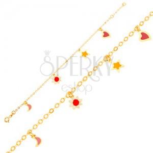 Zlatý náramek 375 na ruku, měsíc, kvítek, hvězda, srdce, lesklý řetízek