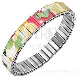 Flexibilní ocelový náramek s barevným květovaným potiskem