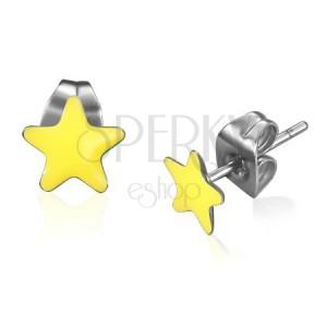 Náušnice z oceli, glazovaná hvězda žluté barvy
