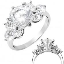 Zásnubní prsten z oceli 316L - kulaté zářivé zirkony čiré barvy