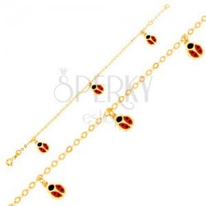 Zlatý náramek 375 - lesklý řetízek, červenočerné glazované berušky