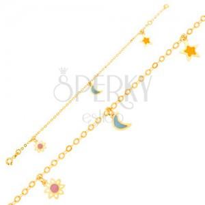 Zlatý náramek 375 - řetízek, emailový bílo-růžový kvítek, měsíc, hvězda