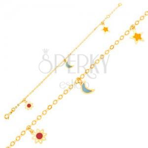 Náramek ze žlutého 9K zlata - bíločervený kvítek, měsíc, hvězda, řetízek