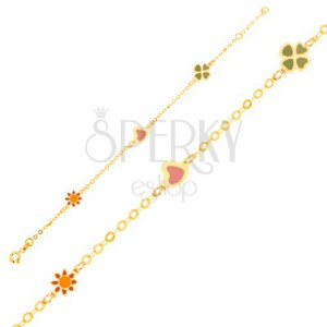 Náramek ze žlutého 9K zlata - glazovaný kvítek, srdce a čtyřlístek, řetízek