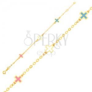 Zlatý náramek 375 - lesklé emailové barevné křížky, tenký řetízek