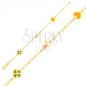 Náramek ve žlutém 9K zlatě - řetízek, čtyřlístek, figurka, srdce s glazurou