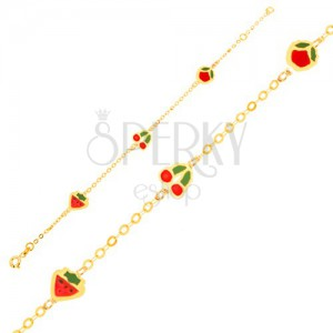 Zlatý náramek 375 - glazovaná jahoda, třešně, jablko a lesklý řetízek