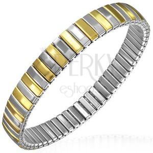 Flexibilní ocelový náramek, články zlaté a stříbrné barvy