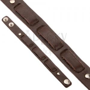 Kaštanově hnědý kožený řemínek, tři pásy