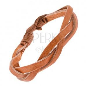 Karamelově hnědý zaplétaný kožený řemínek na ruku