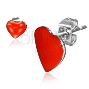 Puzetové náušnice z oceli, červená symetrická srdce