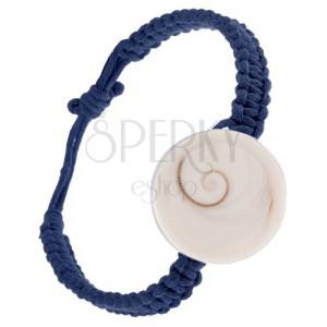 Šňůrkový náramek tmavě modré barvy, pletenec s kruhovou mušlí