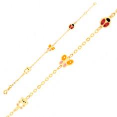 Zlatý náramek 375 na ruku, glazovaný medvídek, motýl, beruška, lesklý řetízek GG01.40
