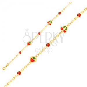 Náramek ze žlutého 9K zlata - řetízek, glazované jahody, třešně, kuličky