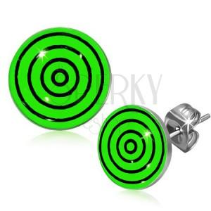 Puzetové náušnice z oceli, černé a zelené kružnice