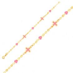Zlatý náramek 375 na ruku - růžové emailové křížky, skleněné kuličky, řetízek GG01.44