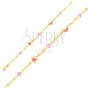 Náramek ve žlutém 9K zlatě - glazovaná hvězda a měsíc, kuličky na řetízku