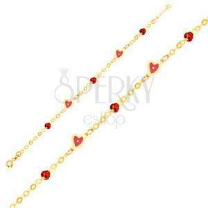 Zlatý náramek 375 - řetízek, srdíčka s červeným emailem, skleněné kuličky