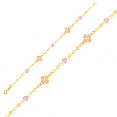 Zlatý náramek 375 na ruku - růžové čtyřlístky a skleněné kuličky, řetízek GG01.50