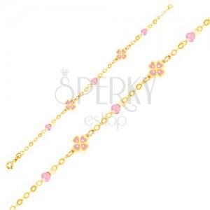 Zlatý náramek 375 na ruku - růžové čtyřlístky a skleněné kuličky, řetízek