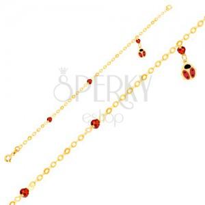 Náramek ze žlutého 9K zlata, lesklý řetízek, glazovaná beruška, kuličky