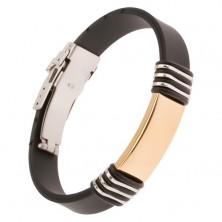 Černý gumový náramek s ocelovou známkou zlaté barvy