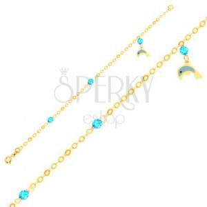 Zlatý náramek 375 - glazovaný delfín, blyštivé kuličky na lesklém řetízku