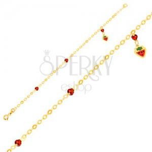 Náramek ve žlutém 9K zlatě - lesklý řetízek s přívěskem ve tvaru jahody, kuličky