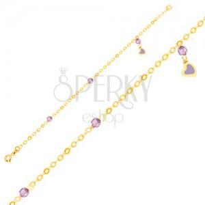 Zlatý náramek 375 - glazované srdíčko, skleněné kuličky, řetízek